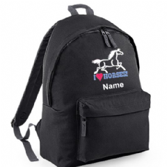 Personalised I LOVE HORSES Backpack Rucksack Bag  (BG125)